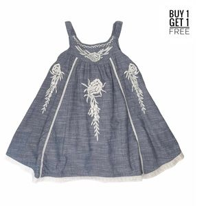 Cutie Couture Girls Chambray Embroidered Dress 4/5